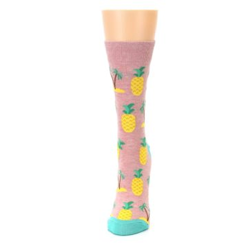 Image of Light Pink Tropical Pineapples Women's Dress Sock (side-2-front-06)
