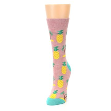 Image of Light Pink Tropical Pineapples Women's Dress Sock (side-2-front-07)