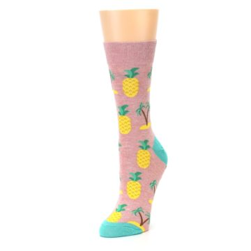 Image of Light Pink Tropical Pineapples Women's Dress Sock (side-2-front-08)