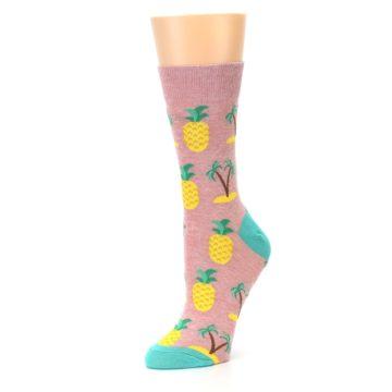 Image of Light Pink Tropical Pineapples Women's Dress Sock (side-2-09)