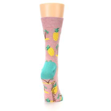 Image of Light Pink Tropical Pineapples Women's Dress Sock (side-1-back-20)