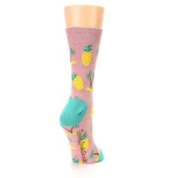 Image of Light Pink Tropical Pineapples Women's Dress Sock (side-1-back-21)
