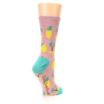 Image of Light Pink Tropical Pineapples Women's Dress Sock (side-1-back-22)