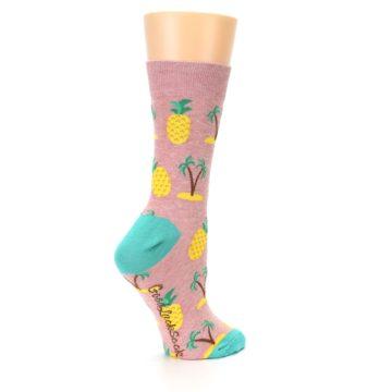 Image of Light Pink Tropical Pineapples Women's Dress Sock (side-1-23)