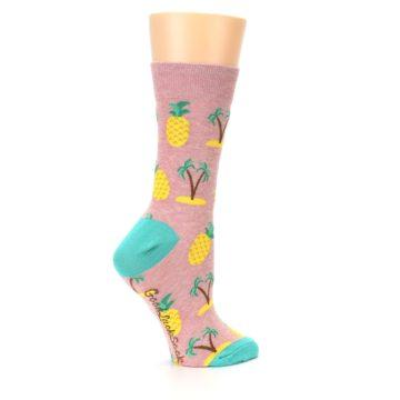 Image of Light Pink Tropical Pineapples Women's Dress Sock (side-1-24)