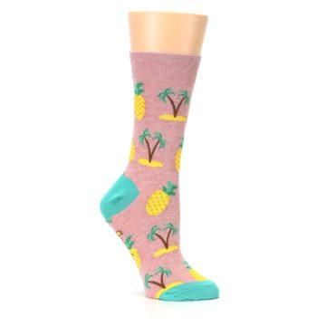 Image of Light Pink Tropical Pineapples Women's Dress Sock (side-1-26)
