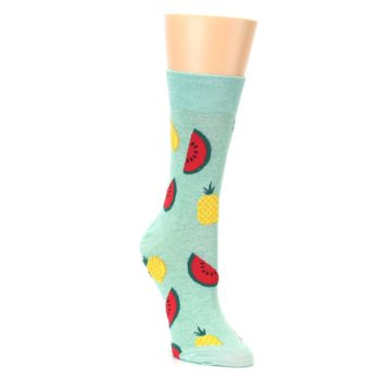 Image of Green Pineapples and Watermelons Women's Dress Sock (side-1-front-02)