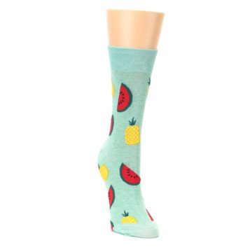 Image of Green Pineapples and Watermelons Women's Dress Sock (side-1-front-03)