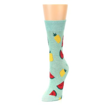 Image of Green Pineapples and Watermelons Women's Dress Sock (side-2-front-08)