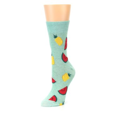 Image of Green Pineapples and Watermelons Women's Dress Sock (side-2-09)