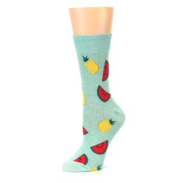 Image of Green Pineapples and Watermelons Women's Dress Sock (side-2-10)