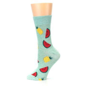 Image of Green Pineapples and Watermelons Women's Dress Sock (side-2-12)