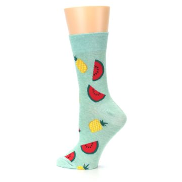 Image of Green Pineapples and Watermelons Women's Dress Sock (side-2-13)