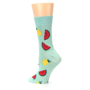 Image of Green Pineapples and Watermelons Women's Dress Sock (side-2-back-14)
