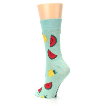 Image of Green Pineapples and Watermelons Women's Dress Sock (side-2-back-15)