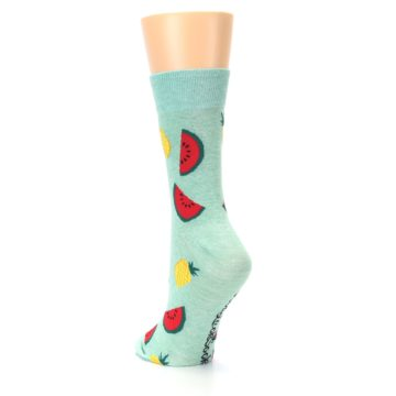 Image of Green Pineapples and Watermelons Women's Dress Sock (side-2-back-16)