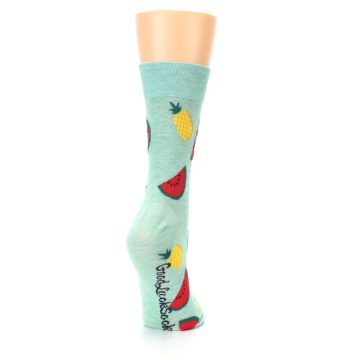 Image of Green Pineapples and Watermelons Women's Dress Sock (side-1-back-21)