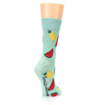 Image of Green Pineapples and Watermelons Women's Dress Sock (side-1-back-22)