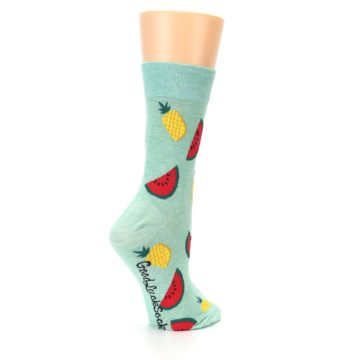 Image of Green Pineapples and Watermelons Women's Dress Sock (side-1-23)