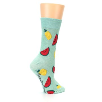 Image of Green Pineapples and Watermelons Women's Dress Sock (side-1-24)