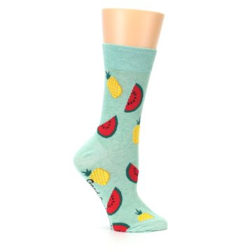 Image of Green Pineapples and Watermelons Women's Dress Sock (side-1-25)