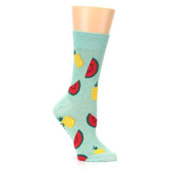 Image of Green Pineapples and Watermelons Women's Dress Sock (side-1-26)