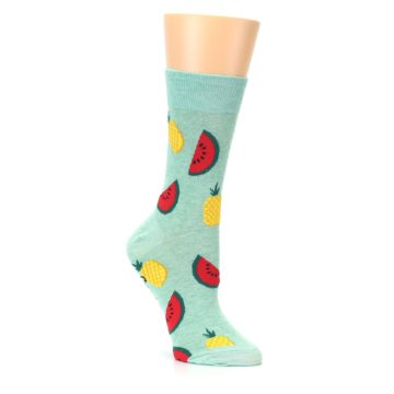 Image of Green Pineapples and Watermelons Women's Dress Sock (side-1-27)