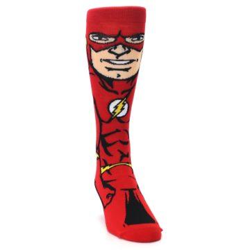 Image of Red Black Flash Superhero Men's Casual Socks (side-1-front-03)