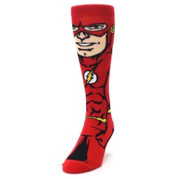 Image of Red Black Flash Superhero Men's Casual Socks (side-2-front-06)