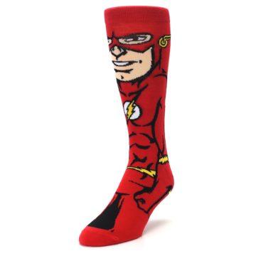 Image of Red Black Flash Superhero Men's Casual Socks (side-2-front-07)