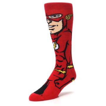 Image of Red Black Flash Superhero Men's Casual Socks (side-2-front-08)