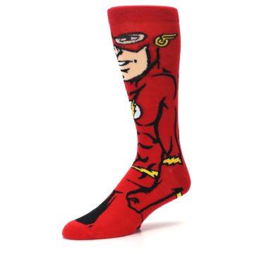 Image of Red Black Flash Superhero Men's Casual Socks (side-2-09)