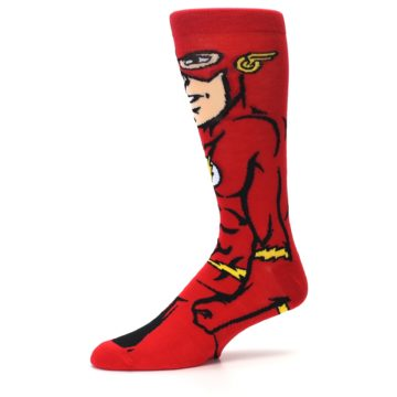 Image of Red Black Flash Superhero Men's Casual Socks (side-2-10)