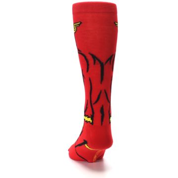 Image of Red Black Flash Superhero Men's Casual Socks (back-17)