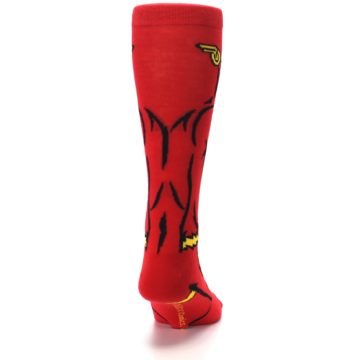 Image of Red Black Flash Superhero Men's Casual Socks (back-19)