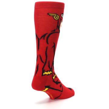 Image of Red Black Flash Superhero Men's Casual Socks (side-1-back-21)