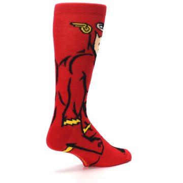Image of Red Black Flash Superhero Men's Casual Socks (side-1-back-22)
