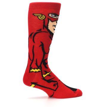 Image of Red Black Flash Superhero Men's Casual Socks (side-1-24)