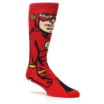 Image of Red Black Flash Superhero Men's Casual Socks (side-1-26)