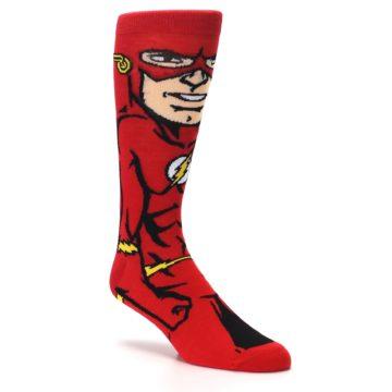 Image of Red Black Flash Superhero Men's Casual Socks (side-1-27)