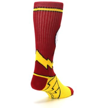 Image of Red Yellow Flash Suit Up Men's Casual Socks (side-1-back-21)