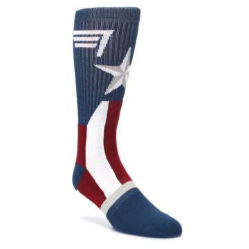 red white blue captain america mens novelty dress socks by BIOWORLD