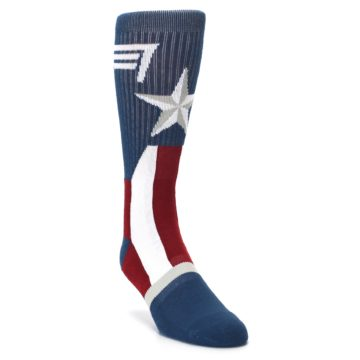 Image of Red White Blue Captain America Men's Casual Socks (side-1-front-02)
