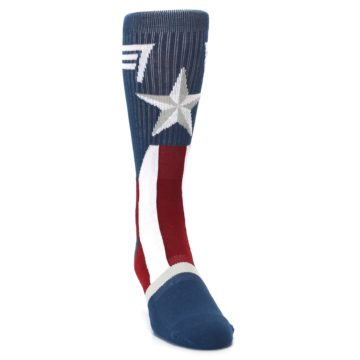 Image of Red White Blue Captain America Men's Casual Socks (side-1-front-03)