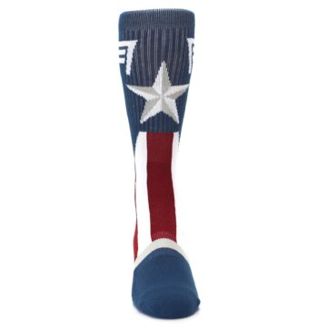 Image of Red White Blue Captain America Men's Casual Socks (front-04)
