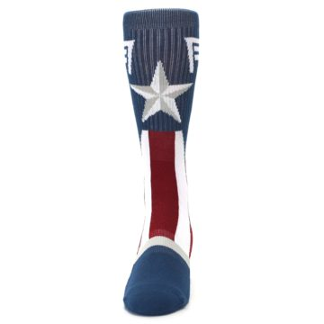 Image of Red White Blue Captain America Men's Casual Socks (front-05)