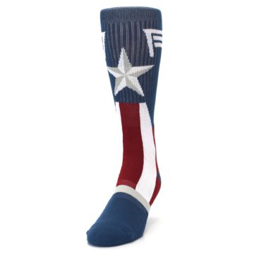Image of Red White Blue Captain America Men's Casual Socks (side-2-front-06)