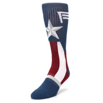 Image of Red White Blue Captain America Men's Casual Socks (side-2-front-07)