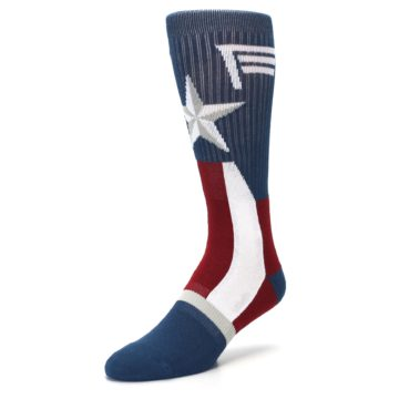 Image of Red White Blue Captain America Men's Casual Socks (side-2-front-08)