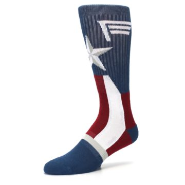 Image of Red White Blue Captain America Men's Casual Socks (side-2-09)